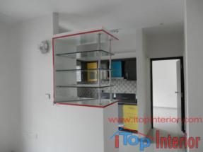 Open Glass showcase of kitchen