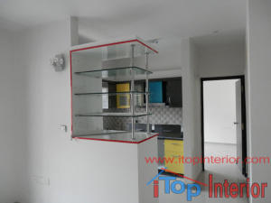 Open Glass showcase of kitchen