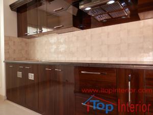 Modular kitchen high glossy laminate finish