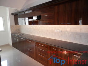 High glossy modular kitchen side view