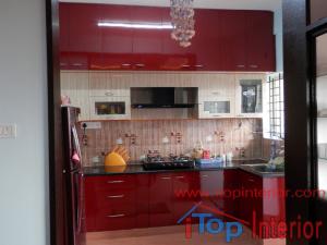 Modular Kitchen maroon and cream colour