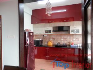 Super modular kitchen maroon and cream colour