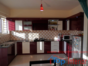 White and maroon high glossy Modular kitchen