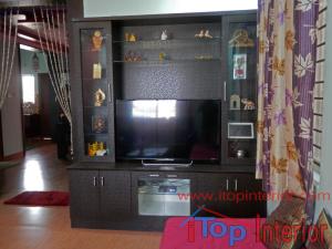 Black colour TV wall unit