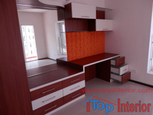 Study table with book rack and dressing unit