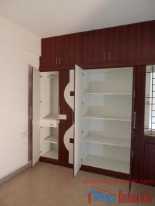 Inside of a wardrobe side view
