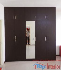 Black colour wardrobe with loft