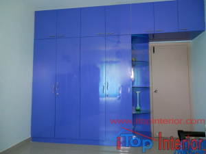 High glossy blue colour wardrobe