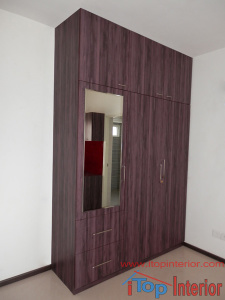 Wardrobe with loft and out side drawers