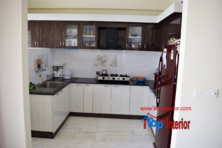 High glossy modular kitchen in Bangalore brown and white