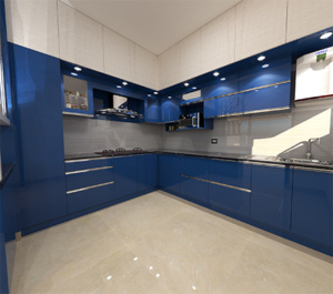 Modern modular kitchen with lighting blue and white combination