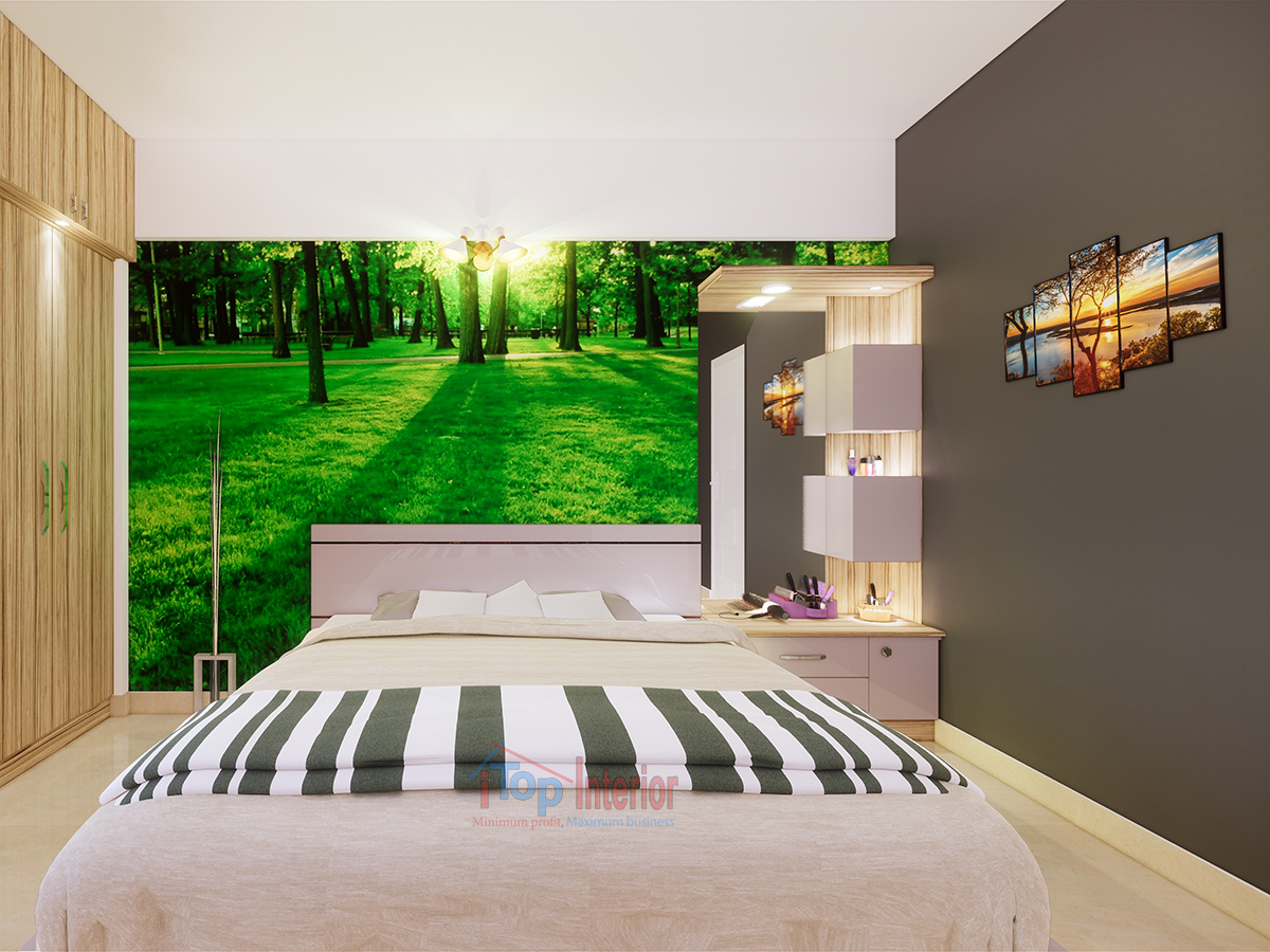 Interior work of a bedroom in Bangalore